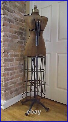 Antique Pat 1908 Vintage Dress Form Victorian Adjustable Cast Iron Base