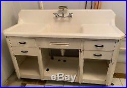 Antique Porcelain on Cast Iron Farm House Sink Double Drain Boards