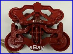 Antique Primitive Cast Iron Jewel Hay Trolley Restored And Painted Red