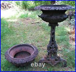 Antique Primitive Victorian USA Cast Iron Flower Garden Architectural Fancy Urns
