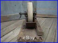 Antique Primitive Wet Stone Sharpening Grinding Wheel Farm Tool Cast Iron Wood