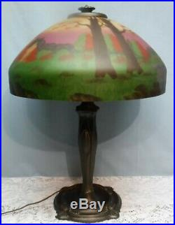 Antique Reverse Painted Signed Miller Co. 285 Table Lamp Stream & Trees Scene