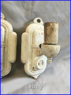 Antique Sconce Pair Cast Iron Wall Light Fixtures Old Vtg Art Nouveau 312-20E