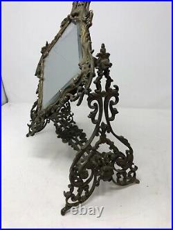 Antique Victorian 19th C Vanity Dressing Shaving Mirror Iron Beveled Glass