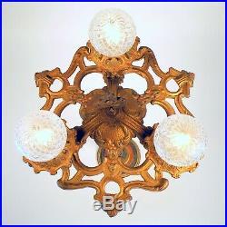 Antique Victorian Art Deco 3 Light Chandelier Hanging Ceiling Fixture REWIRED
