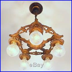 Antique Victorian Art Deco 5 Light Chandelier Hanging Ceiling Fixture REWIRED