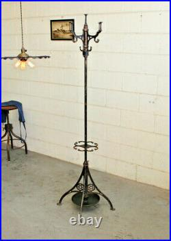 Antique Victorian Cast Iron Copper Flash Japanned Coat Hat Stand Rack Hall Tree