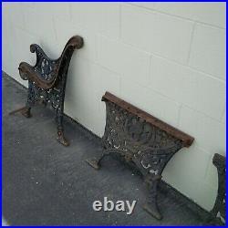 Antique Victorian Cast Iron Park Bench Table Pieces Lion Head Heavy & Rare Rust