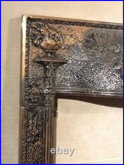 Antique Victorian Fireplace Tile Edge Trim Summer Cover Screen Cast Iron Vintage