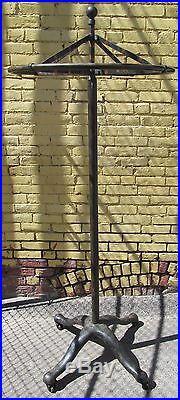 Antique Victorian Industrial Machine Age Cast Iron Revolving Coat Rack 75
