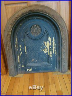 Antique Victorian Ornamental Cast Iron Fireplace Screen Summer Cover Mantel