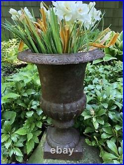 Antique Vintage Cast Iron Garden Planter Urn