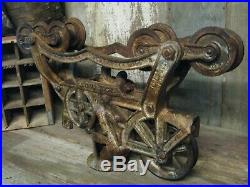 Antique Vintage Cast Iron Olson Hay Trolley Pat 1905 Farm Barn Pulley Cleaned
