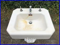Antique Vintage Kohler Pedestal Porcelain Cast Iron Lavatory Bathroom Sink
