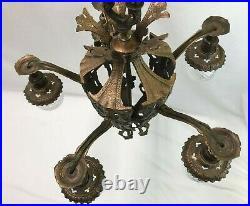 Antique Vtg Chandelier Arts & Crafts Gothic Deco Hanging Ceiling Light'Copper