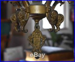Antique c. 1920's Art Nouveau PolyChrome Cast Iron 5-Light Chandelier
