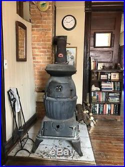 Antique cast iron pot belly stove circa 1890