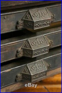 Antique wood Type Set Cabinet Vintage 3 Drawers apothecary handles letterpress