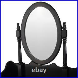Brand New Dressing Table Makeup Desk with Stool and Round Mirror Bedroom Black