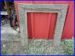 C. 1890's Victorian C. I. Fireplace Surround Face. Floral Frame 30.5 X 32.5