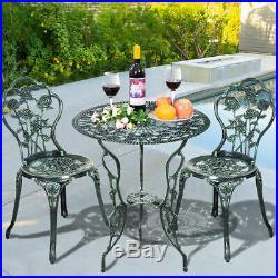 Cast Aluminum Rose Design Bistro Set Antique New Patio Furniture Green