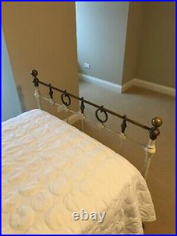 Cast Iron Antique Twin Bed with Brass Accents. Perfect for you Lake House