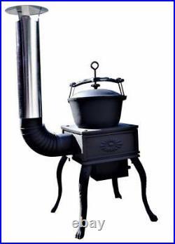 Cast Iron Coal Wood Burner BBQ Stove Heater Shed Summerhouse Workshop Garage