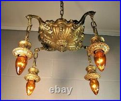 Chandelier Victorian Solid Polished Cast Brass 4 Light 5 Chains Restored Ornate