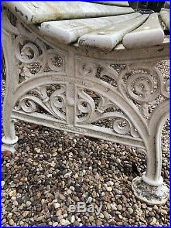 Coalbrookdale Original Cast Iron Bench with wood slats painted