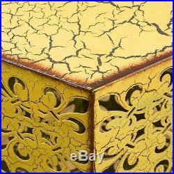Contemporary Outdoor Hexagonal Antique Yellow Iron Accent Tables (Set of 2)