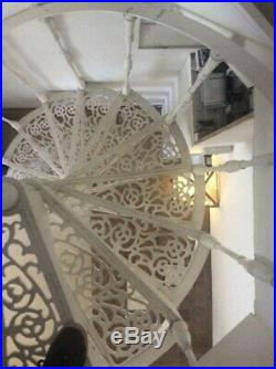Cream Cast Iron Spiral Staircase/Stairs Indoor/Outdoor Reclaimed Antique