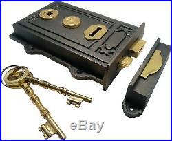 Dual handed Victorian Style Antique Cast Iron Brass Davenport Door Rim Sash Lock