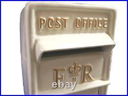 ER Post Box Postbox Letter Box Cast Iron Royal Mail White Large