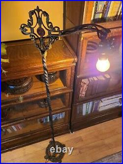 Early 1900s Antique Cast Iron Bridge Lamp. Vintage floor lamp