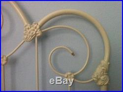 Elliott's Design Queen Duchess Antique White Enamel Wrought Iron Brass Headboard