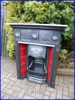 English Victorian Tiled Cast Iron Art Nouveau Fireplace 1890s