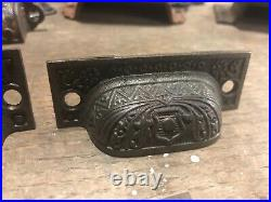 FANCY c1880 SET of 14 matching authentic VICTORIAN cabinet pull hardware 2.75