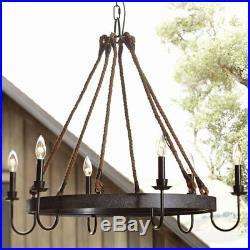 Farmhouse Antique Industrial Rope Chandelier Light Pendant Lighting Lamp Fixture