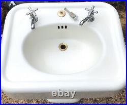Farmhouse Sink Antique 1925 Cast Iron Porcelain White Pedestal Rustic Bathroom
