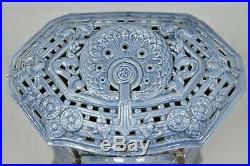French Art Deco Lily Cast Iron Blue Porcelain Heater Stove Deville Charleville