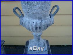 GAR CSW Pair Cast Iron Garden Urn Planters QUALITY 41 High x 19 Wide