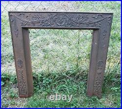 Gorgeous Antique Victorian Era Cast Iron Fireplace Ornate Insert w Cover 2 Piece
