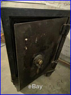 Heavy Antique Cast Iron Floor Safe on Wheels with Combination- Early 1900's