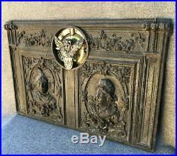 Heavy antique french stove door ornament 19th century bronze and cast iron