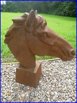 Horse Head Bust pier top cast Rusty Horse head Gate pier Cast iron sculpture