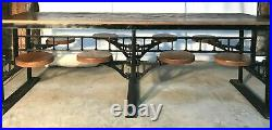 Industrial 8' Table With 8 Swing Out Seats / Stools, General / Country Store
