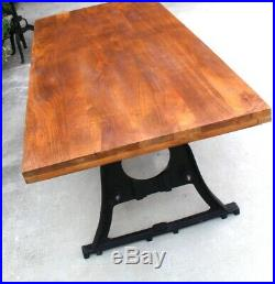 Industrial Conference Kitchen Dining Room Table w Cast Iron Legs Antique Style