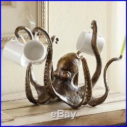 Iron Octopus Mug Rack Kitchen Ocean Beach Decor Unique Coffee Tea