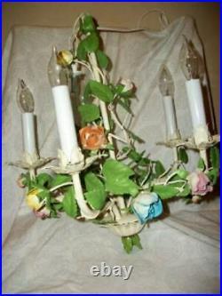 Italian Tole Roses Chandelier Swag 5 Light French Farmhouse Original Finish