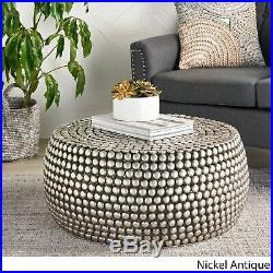 Joeseph Modern Textured Iron Coffee Table, Nickel Antique